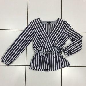 J. Crew navy/white striped blouse